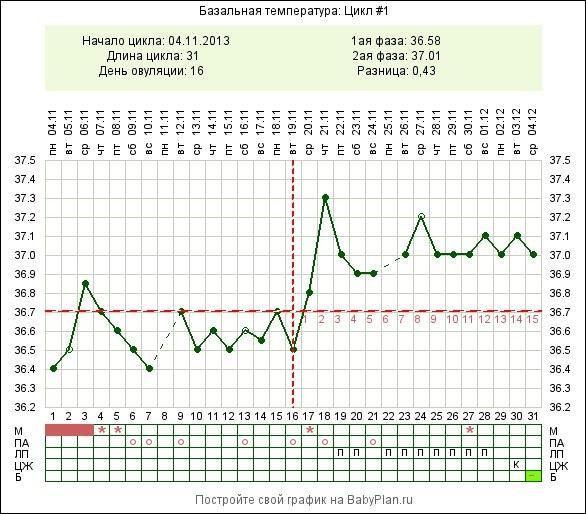 График базальная температура при беременности до задержки