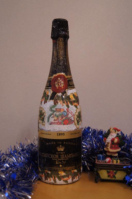 Оформление бутылки к новому году