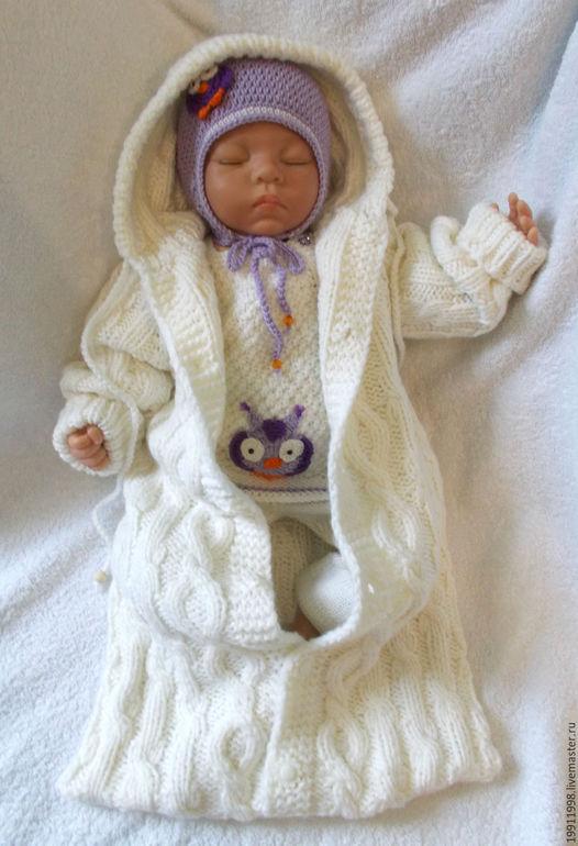 Вязание новорожденным комбинезон с капюшоном