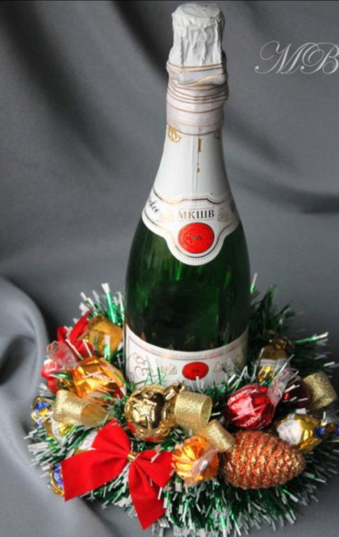 Украшения конфетами на шампанское своими руками на