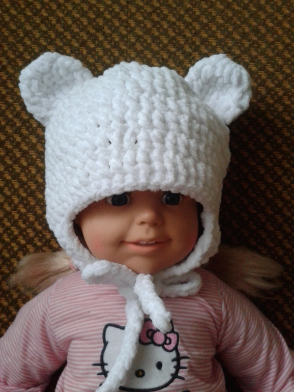 шапка мишка из плюша