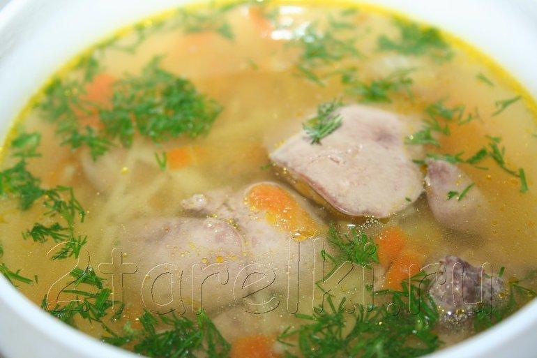 рецепт супа с куриной печенью?