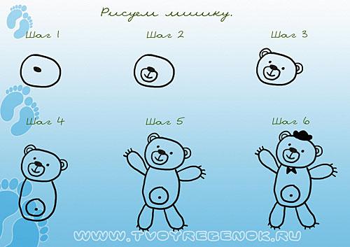 Рисование медведя поэтапно для детей
