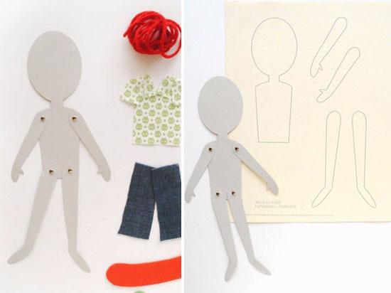 Шарнирная бумажная кукла своими руками 60