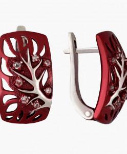 Серьги из серебра Нейлия с красной нанокерамикой Юмила