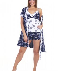 Комплект женский Эвелина (шорты с топом и халат)