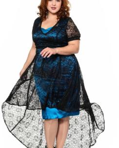 Платье Черный с бирюзовым
