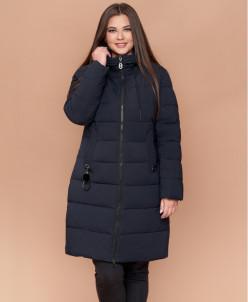 Женская куртка большого размера темно-синяя зимняя модель