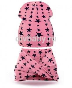 Комплект шапка и шарф хомут трикотаж звезда розовый плотная