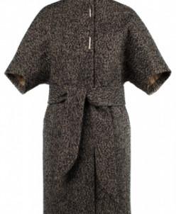 01-8105 Пальто женское демисезонное(пояс) Твид Бежевый