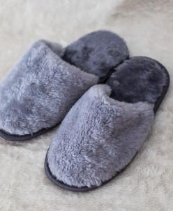 Тапочки мужские Серые. 100% овчина