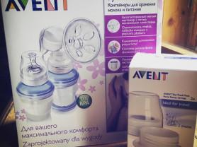 Молокоотсос ручной Philips Avent + контейнер (новые, в коробках)