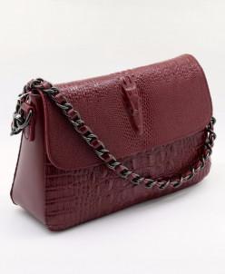 Женская кожаная сумка 960 Крок-Бордовый