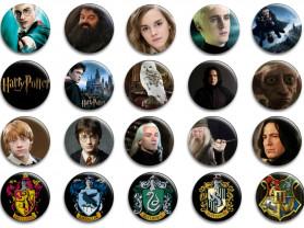 Набор значков Гарри Поттер 56мм 20шт