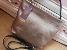 Новая оригинальная кожаная сумка Италия Бронза