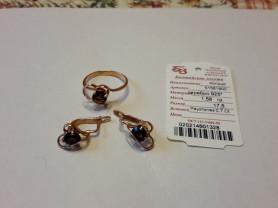 Комплект серьги и кольцо серебро с позол р.17,5