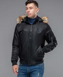"""Куртка бомбер черная с опушкой Braggart """"Youth"""" модель 46575"""