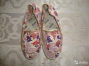 Новые, текстильные Румынские мокасины. Размер 37