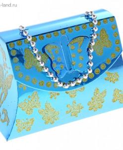 "Коробка сборная ""Бабочка"", цвет голубой"