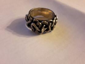 Красивое крупное кольцо со змеями серебро р 18,5-1