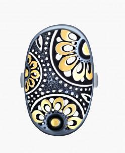 Кольцо Самара серебро с позолотой и нанокерамикой Юмила