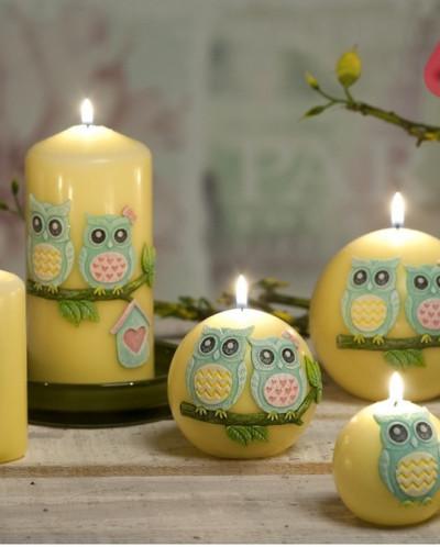 свеча Смешные совы Шар 100мм