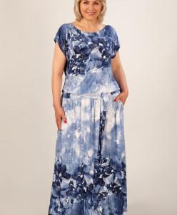 Платье Анджелина-2 джинс/цветы синие