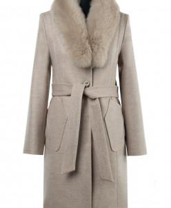 Пальто женское утепленное(пояс) Валяная шерсть Бежевый