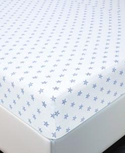 Простынь трикотажная 90х200х20+см (Звезды синие)