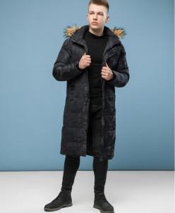 Дизайнерская молодежная куртка черного цвета модель 6168