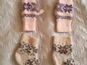 Носочки -варежки 100 проц шерсть 1-2 года
