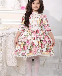 """Платье для девочки """"Цветы на белом"""""""