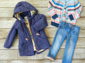 Парка, джинсы утепленные,кардиган 98