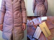 Пуховик куртка парка новый Ermanno Scervino Италия размер 38 40 S M 42 44 46 с капюшоном мех волк цвет розовый приглушённый слегка переливается хамелеон корсетный на талии качество супер верхняя Одежда бренд