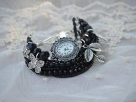 Черные часы-браслет
