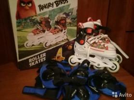 Детские ролики(размер 29-32) angry birds с набором