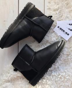 Чёрные обливные женские угги мини
