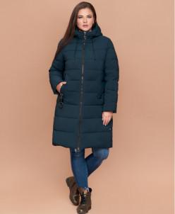 Темно-зеленая оригинальная женская куртка большого размера