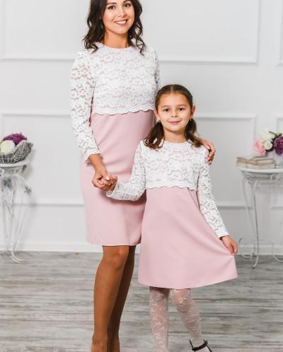 """Комплект платьев для мамы и дочки """"Мелания"""" нежно-розовое"""