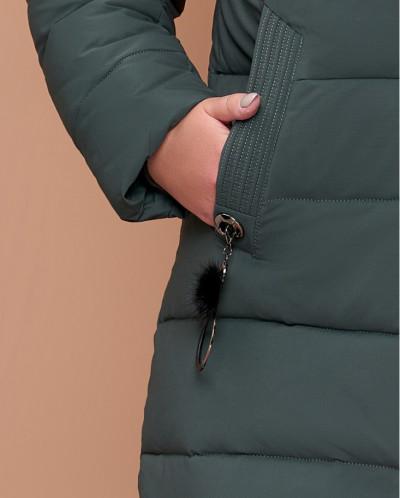 Женская куртка большого размера серо-зеленого цвета модель 1
