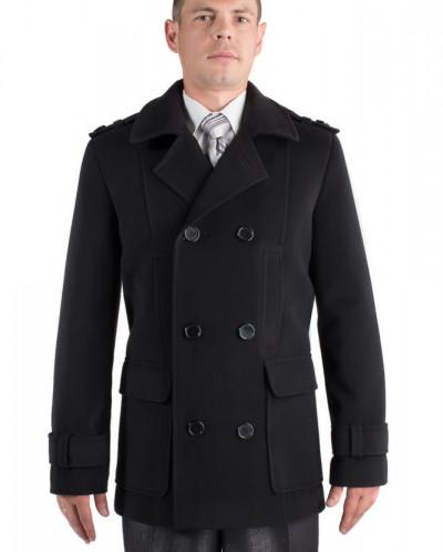 06-0040 Пальто мужское демисезонное (Рост 182) Кашемир Черны