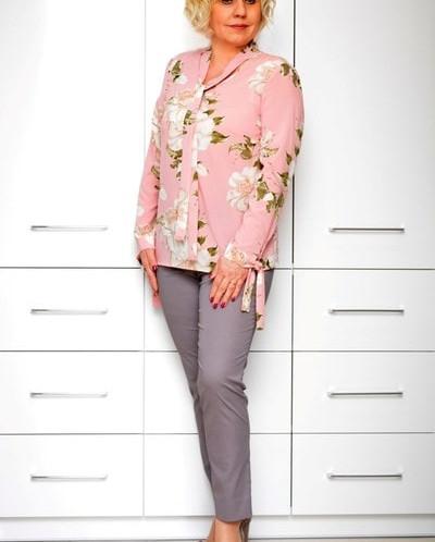 Блуза розовая шелк цветы 1633-2