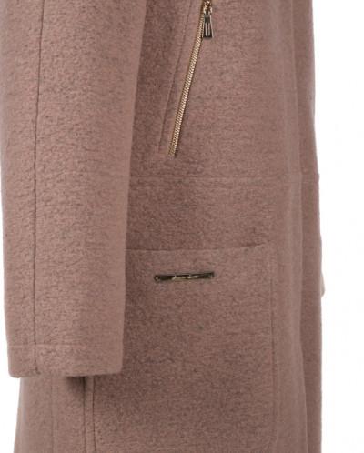 09-2089 Пальто женское демисезонное Шерсть Темно-бежевый