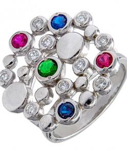 Кольцо из серебра с цветными фианитами родированное