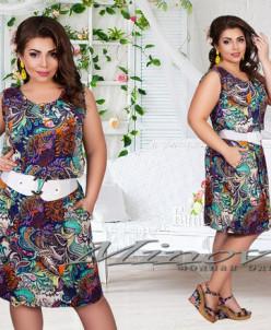 Артикул:Платье №330 (ш.к)-фиолетовый+узор