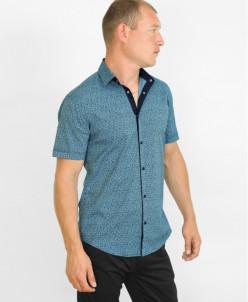 Рубашка Black Stone синяя молодежная с узором