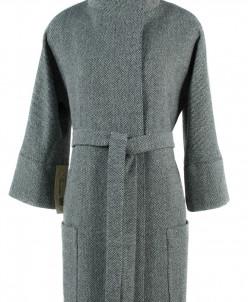 01-5048 Пальто женское демисезонное (пояс) Твид Серо-зеленый