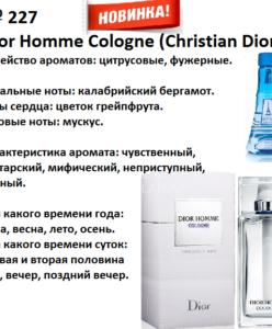 227 аромат направления Dior Homme Cologne (C.Dior) (100 мл)