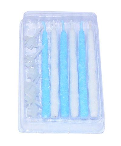 Набор из 6 свечей с подставками для торта с синим цветом пла