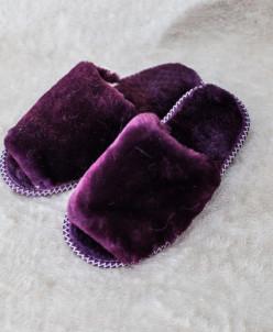 Тапочки женские открытые без бубона Сиреневые. 100% овчина